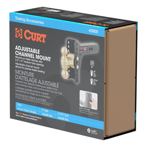 CURT Adjustable Channel Mount with Dual Ball 45902 - 20,000 lbs