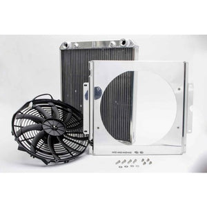 AFCO Racing Aluminum Radiator with Fan Shroud Dragster/Roadster Double Pass 3/4 FNPT Inlet 3/4 FNPT Outlet 80108N