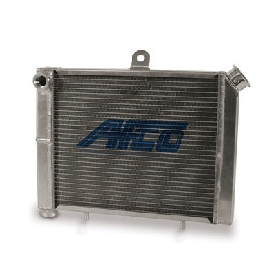 AFCO Racing Aluminum Satin Radiator Cage Mount Double Pass 3/4 NPT Female Inlet/Outlet for Mini/Micro Sprint 80205