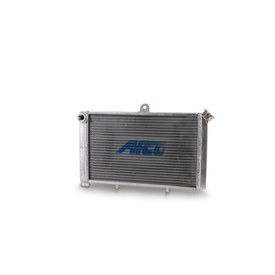 AFCO Racing Aluminum Satin Radiator Cage Mount Double Pass 3/4 NPT Female Inlet/Outlet for Mini/Micro Sprint 80207