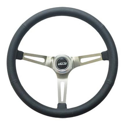 GT Performance Steering Wheel Retro Leather Stainless Spokes