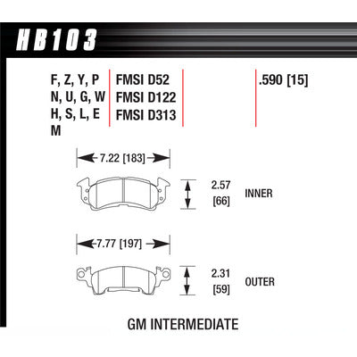 Hawk Brake Pads HB103S590 Full Size GM HT-10