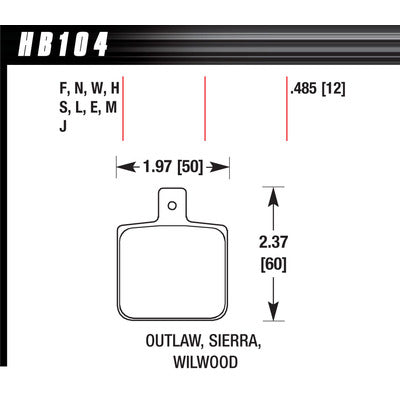 Hawk Brake Pads HB104M485 DL Single/1000-Black