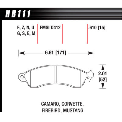 Hawk Brake Pads HB111N610 Performance Street GM/Ford