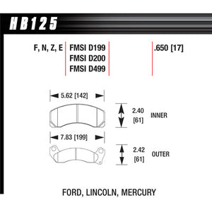 Hawk Brake Pads HB125E650 Blue 9012 Ford