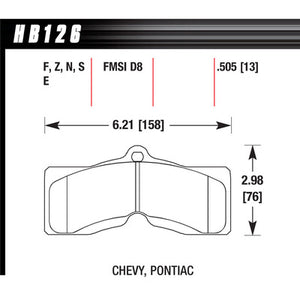 Hawk Brake Pads HB126F505 Performance Street GM F-Body/Corvette