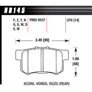 Hawk Brake Pads HB145F570 Performance Street Acura/Honda