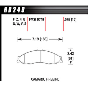 Hawk Brake Pads HB249N575 Performance Street Front GM F-Body