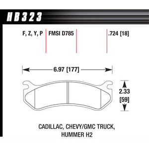 Hawk Brake Pads HB323Y724 Performance Street GM Truck/SUV