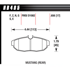 Hawk Brake Pads HB485Z656 Performance Street Rear Mustang