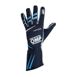 OMP Tecnica Evo Gloves - Navy Blue/Cyan