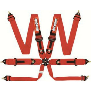 RaceQuip 6-Point FIA Pull-Down Camlock Harness - Red
