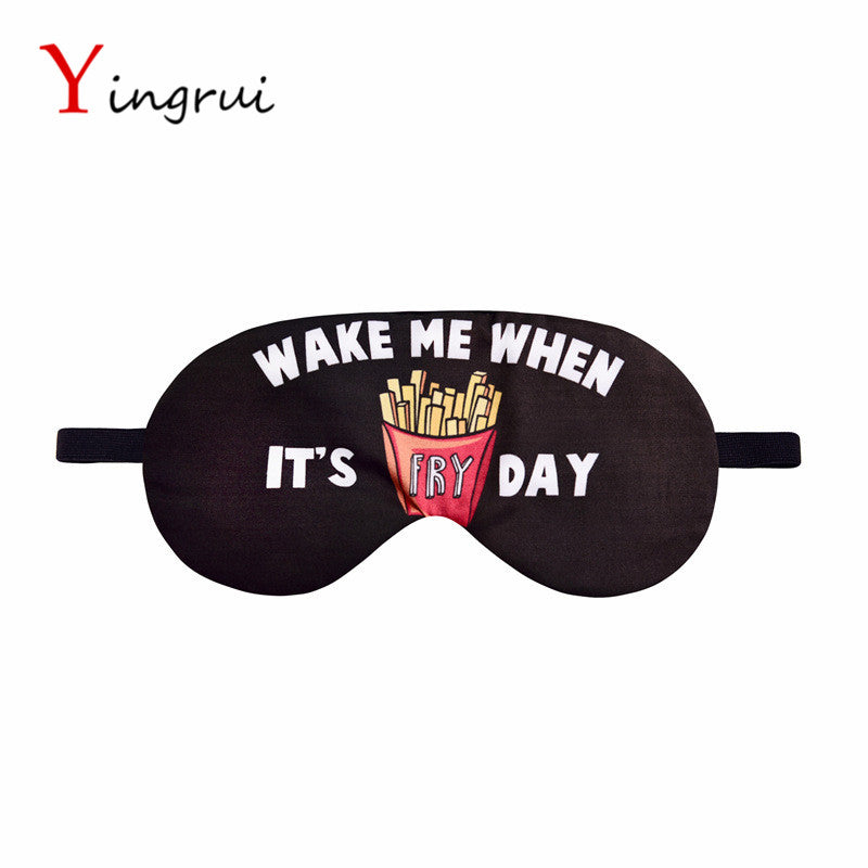 Travel Soft Sleeping Aids Eye Mask Cover Shade Blindfold Rest Shield Funny Letter Eye Patch WAKE ME UP WHEN FRY DAT EyeShield