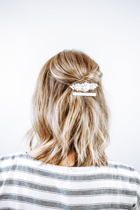 White Marble Skinny Bar Hair Clip