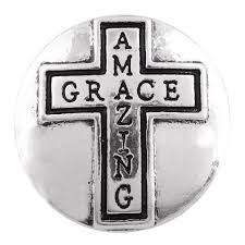 Silver Toned Amazing Grace Cross Snap