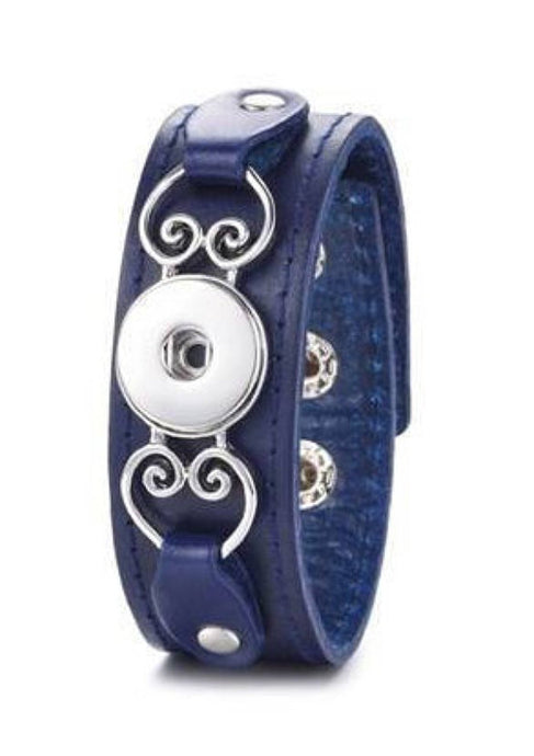 Dark Blue Leather Snap Bracelet
