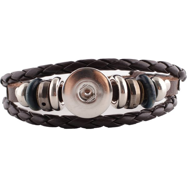 Brown Faux Leather Braided Snap Bracelet