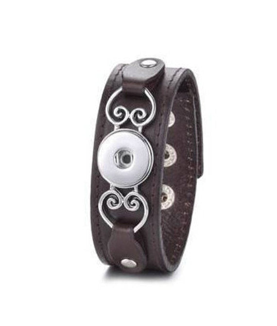 Brown Leather Snap Bracelet