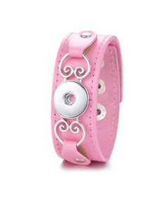 Pink Leather Snap Bracelet