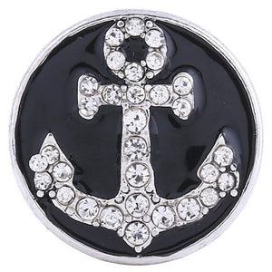 Enamel Black Snap with Crystal Anchor