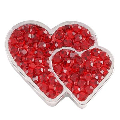 Red Crystal Double Hearts Snap