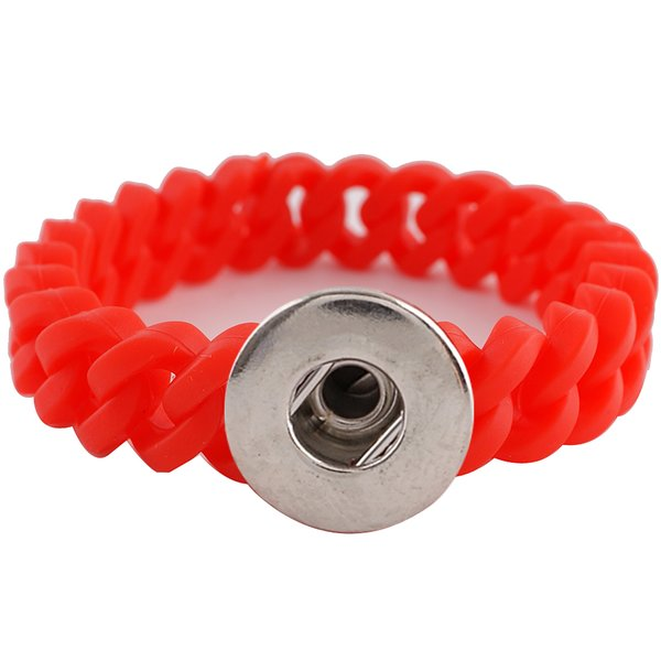 Narrow Red Silicon Stretch 1 Snap Bracelet