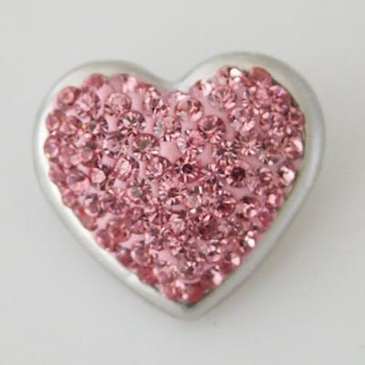 Pink Crystal Heart Snap
