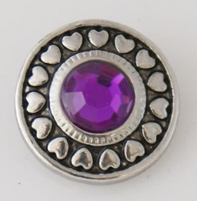 Silver Heart Circle with Purple Stone Snap