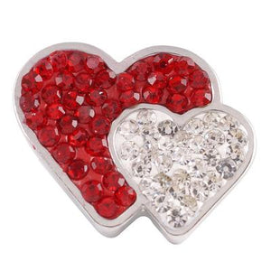 Red & White Crystal Hearts Snap