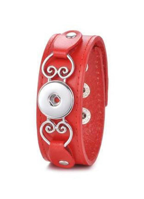 Red Leather Snap Bracelet