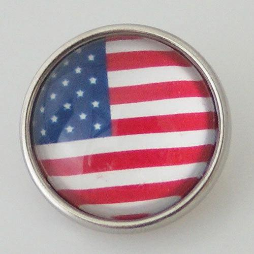 Round American Flag Glass Snap