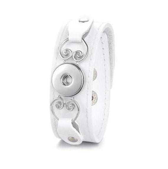 White Leather Snap Bracelet