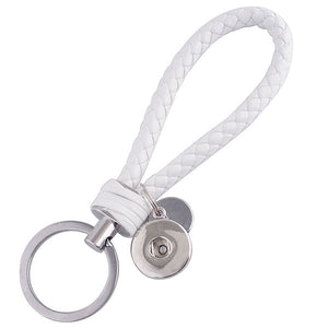 White Leather Braided Key Chain