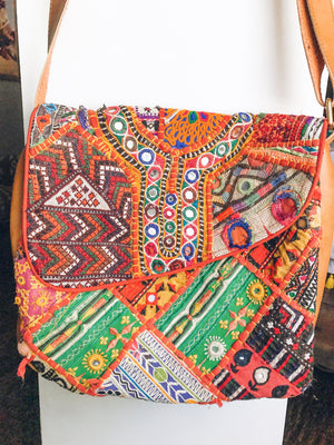 poppy stitched boho bag