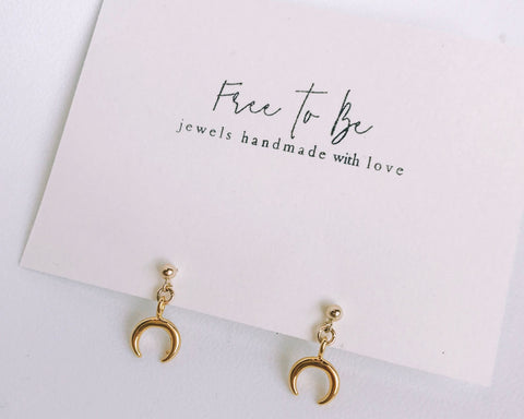 14k gold filled horn earrings