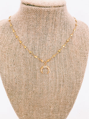 mini gold horn necklace