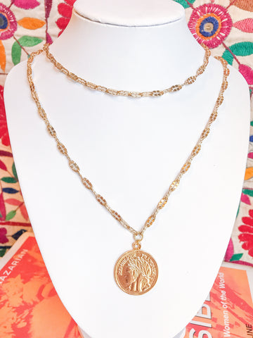 double wrap coin necklace