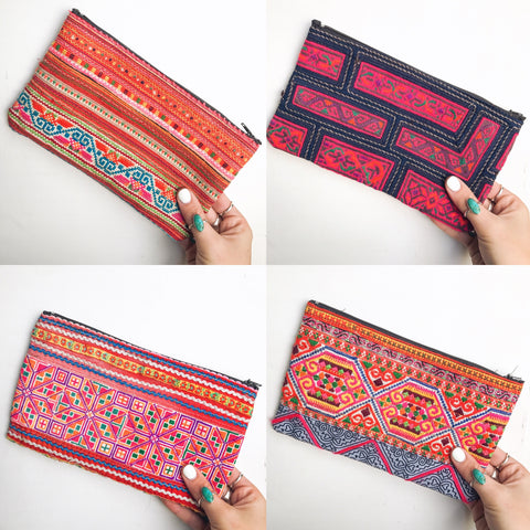 embroidered tribal pouches