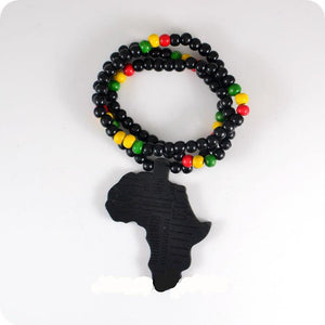 Laser Cut Africa Map Wooden Beads Necklace