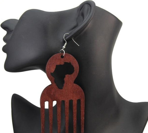 Adinkra  Wooden Drop Tribal Earrings