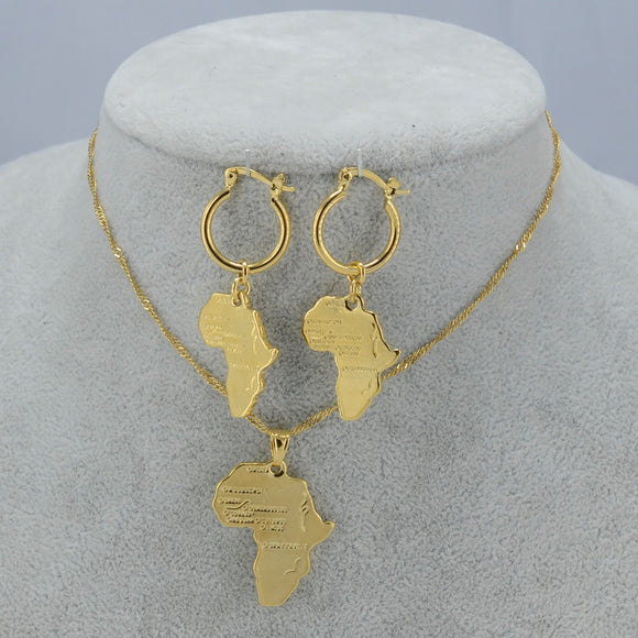 Africa Map Jewelry Set
