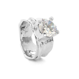 Silver ring with zirconia stone - White