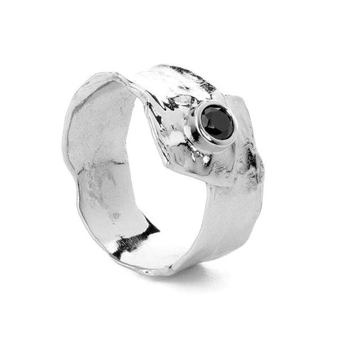 Metal silver ring with Black cubic zirconia stone
