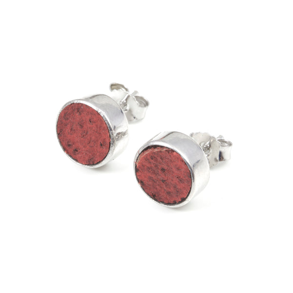 Earrings with red fish skin