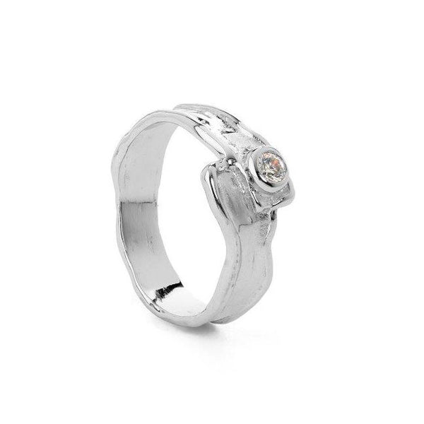 Silver ring with zirconia stone - White stone