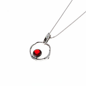 Silver Necklace with red cubic zirconia stone