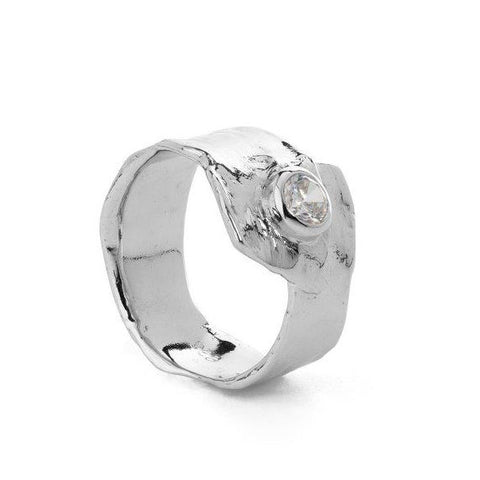 Metal silver ring with white cubic zirconia stone