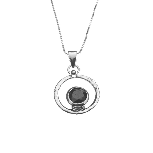 Silver with black zirconia stone