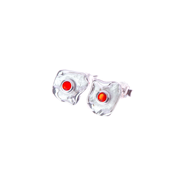 Metal sterling silver earrings with red zirconia stone