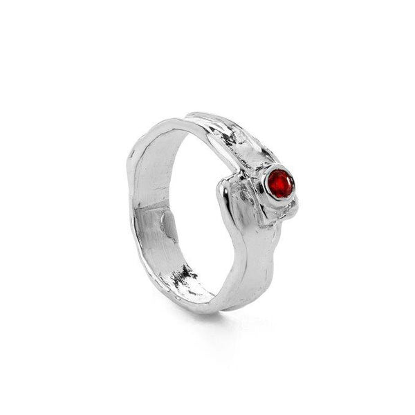 Silver red with zirconia stone